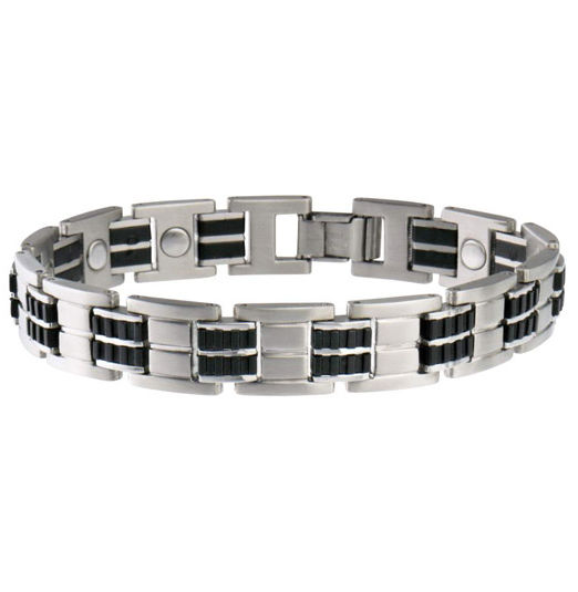 Sabona Mens Leather and Steel Bracelet